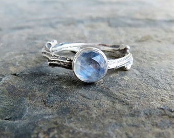 Sterling Silver Moonstone Twig Ring - Antiqued Tree Branch or Vine Promise Ring - Rose Cut Moonstone Engagement Ring in Oxidized Silver