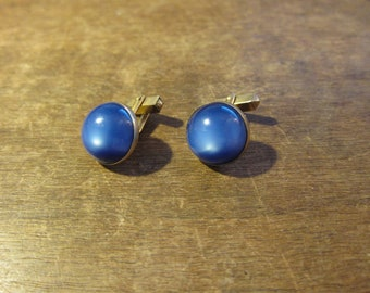 Gorgeous 1930s Blue Glass and Gold Swank Cuff Links