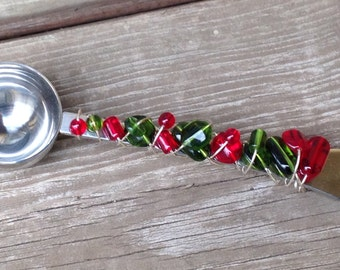 Beaded Coffee Scoop - Coffee Gift - Glass Beaded Coffee Scoop - Beaded Serving Utensils - Coffee Scoop - Holiday Gift - Coffee Lover