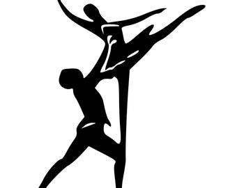 Male and Female Ballet Dancers Dancing Die-Cut Decal Car Window Wall Bumper Phone Laptop