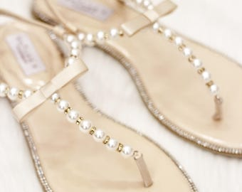 Women Pearl Wedding Sandals - T-Strap BEIGE Pearl  with Rhinestones flat sandal - brides and bridesmaids flat sandals