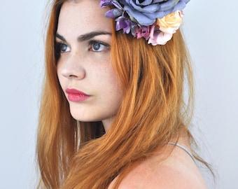 Flower Hair Clip in Deep Purple and Soft Pink Roses | Flower Fascinator | Flower Headpiece | Purple Fascinator | Wedding Fascinator
