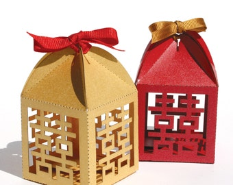 """Laser cut favor box - """"Double Happiness"""""""