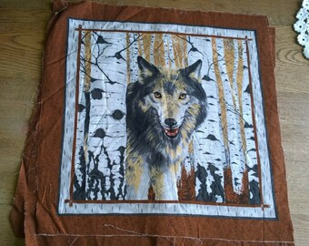 WOLF cushion or quilting panel  birch trees