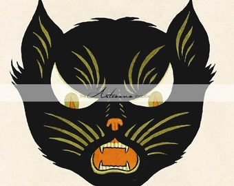 Instant Download Printable Art - Art Deco Black Cat Halloween Hallows Eve Decor Vintage Antique - Paper Crafts Altered Art Scrapbooking