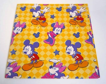 Vintage 1980's Mickey Minnie Mouse Birthday Wrapping Paper Yellow Walt Disney Gift Wrap