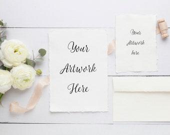 Wedding invitation deckle edge digital mockup - Renunculas and silk ribbon