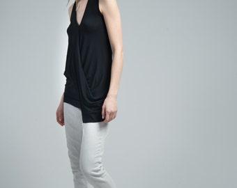 Sleeveless Top / Asymmetric Blouse / Black Top / Extravagant Shirt / Oversize Top / Casual Tank Top / Marcellamoda - MB0627