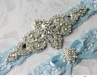 Wedding Garter Blue, Blue Wedding Garter Set. Blue Lace Garter Set, Lace Wedding Garter, Something Blue, Personalized Garter