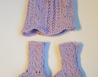 Set of Hand Knitted Baby Hat and Booties