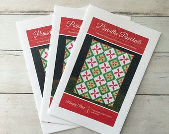 Poinsettia Pinwheels - a printed quilt pattern - modern Christmas and holiday quilt