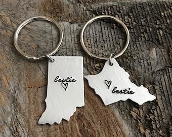 Best Friends Gift BFF Gift Best Friends Keychain Bestie Gift State Keychain Long distance relationship Long distance friendship going away