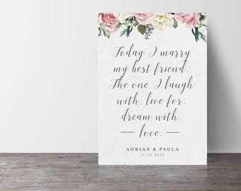 Today I marry my best friend wedding sign