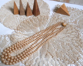 Necklace three rows of faux pearls vintage 1950's