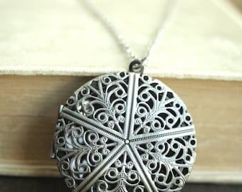 Silver Locket Necklace, Filigree  Locket Long Necklace on a Long Chain