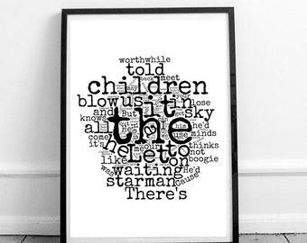 Starman - A4/A3 Art Lyrics Print | David Bowie | Word Cloud