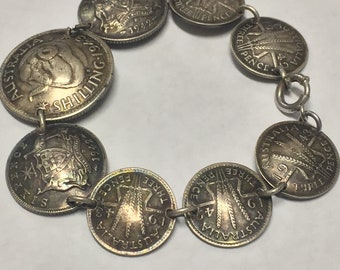 Vintage Sterling Silver Australia 1942-1943 Shilling, Three Pence, and Six Pence Coin Bracelet