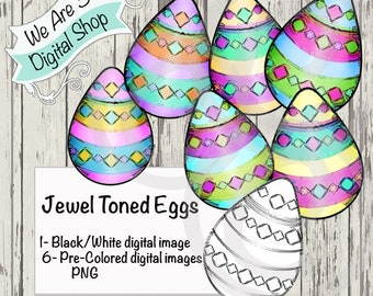 We Are 3 Digital Shop, Jewel Toned Eggs, Digital Stamp, Spring, Easter