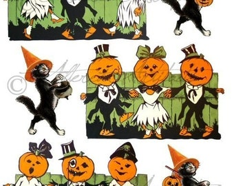 Printable Vintage Halloween Clip Art Pumpkin Dance Party Retro Scraps Black Cat Puppet Digital Collage