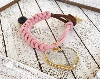 Light Pink bracelet. Pink bracelet with Heart of crystal set.