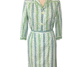 vintage 1960's floral skirt set / Country Set by Margit / cotton / spring / blouse skirt outfit / women's vintage dress set / size medium