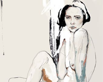 Nude Portait digital print poster print Art