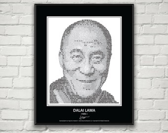 Dalai Lama in his own words! Quotes. Print. Wall Art. Poster. His image composed of more than 40 of his most inspirational quotes! Gifts!