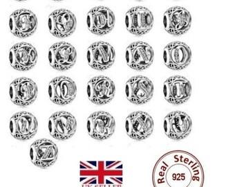 Sterling Silver 925 Charms Letter Name A-Z alphabet european bracelets like pandora