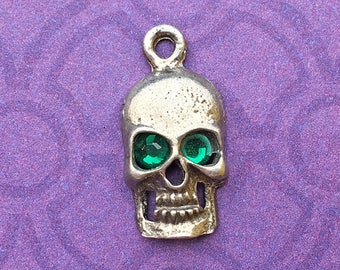 Handmade Skull Charm with Emerald Green Crystal Eyes, May Birthstone, Lead Free Pewter, about 17mm x 9mm