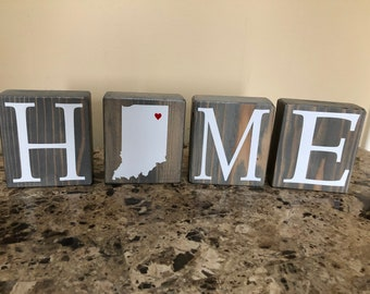 Indiana Home Block Wooden Sign