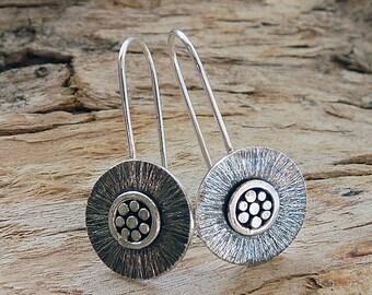 Sterling silver earrings. Silver drop earrings. Disc earrings. Silver jewellery. Handmade. MADE TO ORDER.