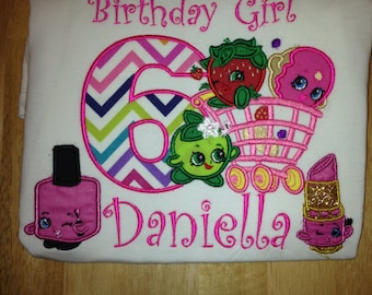 Custom Shopkins Birthday shirt / with Bow 35.00 Please read listing
