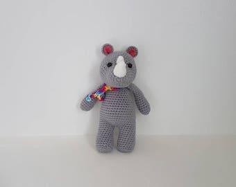 Rhinocerous Toy, Crochet Rhino, Toy Rhino, Handmade Crochet Rhinocerous, Baby shower gift - MADE TO ORDER