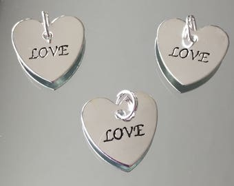 Heart Charm - Silver plated LOVE Heart Charms - Packages of 3 and 6 Charms (#546)