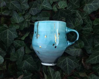 Blue Ombre Mug with Gold Falling Stars --Little Handle