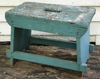wood stepstool ~ turquoise wooden stool ~ rustic stepstool ~ primitive antique ~ wood step stool ~ worn wooden stool ~ farmhouse antique