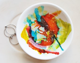 Colorful Paint Ring Dish, Watercolor Art Dish, Ring Holder, Mother's Day Gift, Unique Gift Idea, Jewelry Tray