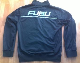 FUBU jacket, vintage Fubu windbreaker, 90s hip-hop clothing, 1990s hip hop shirt, OG, gangsta rap, black color Fubu jersey, size XL
