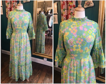 "1970s Flower Power Bright Maxi Dress Flurorescent W28"" Small UK10"