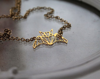Golden bat  necklace fantasy filigree geometric
