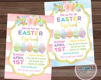 Easter Egg Hunt Invitation, Easter Party Invitation, Easter Eggs Party Invitation, Easter Egg Hunt Party Invitation, Digital File