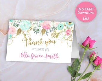 Thank you Card Floral Mint Pink Gold Foldable Baby Shower Thank you Card Bridal Shower editable Thank you Card Printable Instant download