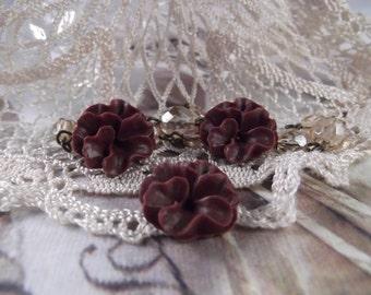 Matte Resin Pansy Flowers --- Set of 3 ---  (Vintage Burgundy) ---  RES 23