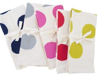 Napkins Big Dots / Set of 2 Napkins / navy, gray, pink, red, yellow