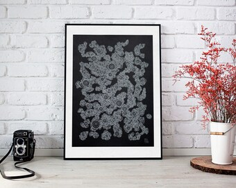Elegant line drawing - Silver and black, gifts for her, decorate your home, original artwork, unique gifts, valentines day, Beatriz Plata