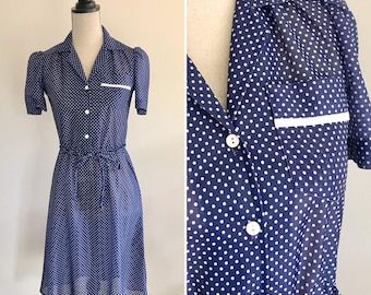 Vintage Polka Dot Dress, Navy and White Dress, Polka Dot Dress, Spotty Dress, Vintage Dress, 1950s Dress, Pinup Dress, Swing Dress