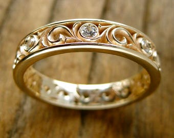 White Sapphire Spiral Wedding Ring in 14K Yellow Gold with Fine Floral Scroll Motif Size 10