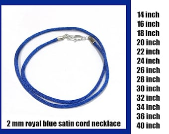 Royal Blue Satin Cord Necklace With Lobster Clasp, 2 mm - Choose Length 14 inch to 40 inch, Silver Plated Clasp or Gold Plated Clasp