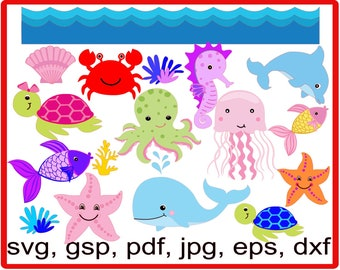 SVG Under The Sea Pack, svg, gsp, whale, octopus, fish, dolphin