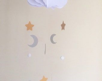 Baby Mobile - Moon Baby Mobile, Star Mobile, Hanging Baby Mobile, Nursery Mobile, 3D Paper Mobile